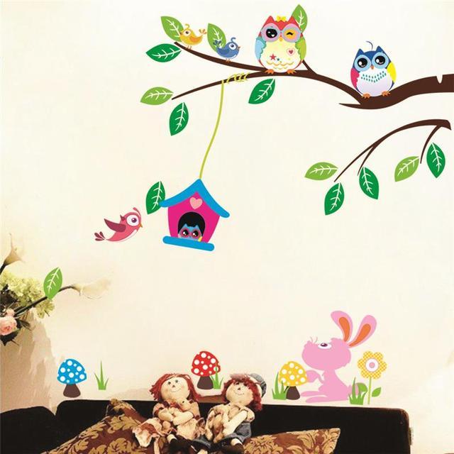 Животные стены дети играют декорации 1017. Совы adesivos де паредес дома таблички искусства настенной росписи подарок на день рождения 4.0