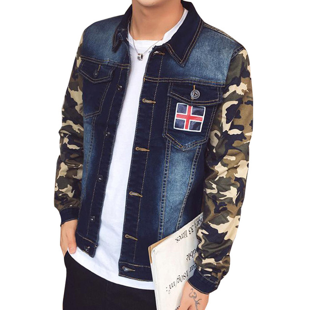 e8c7355625b1f Military style casual denim jacket men Camouflage sleeves patchwork jean  jacket Turn-down collar Mens coats Plus size 5XL L590