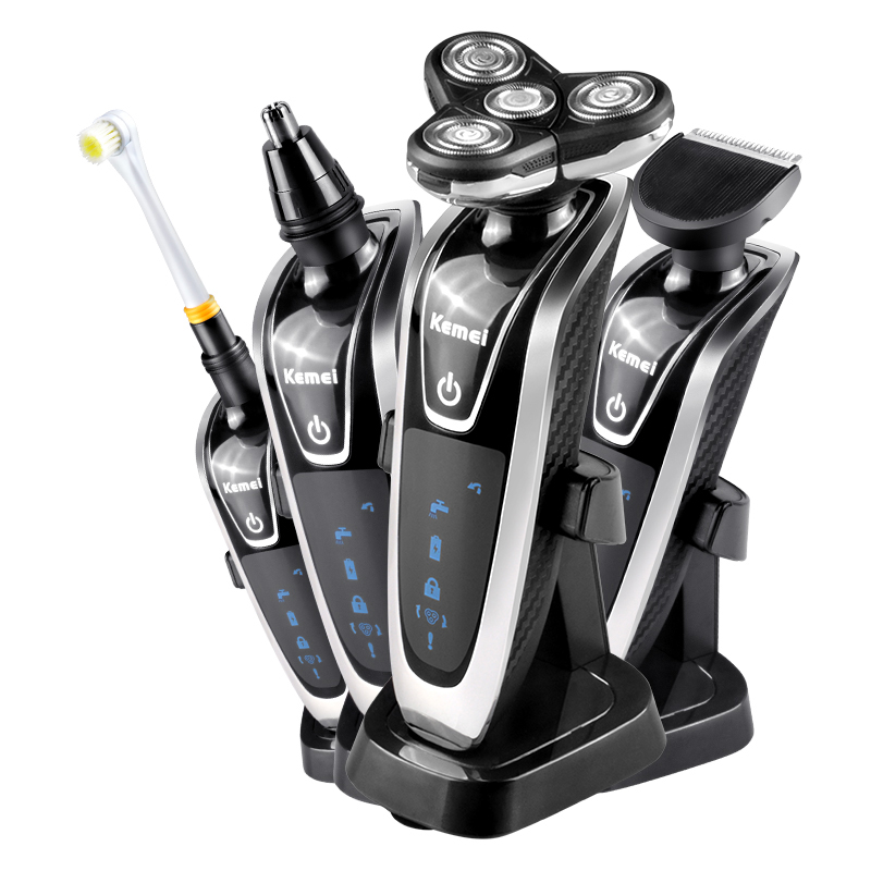 4 in 1 Bartschneider Multifunktions Wiederaufladbare Elektrorasierer 4D Schwimmdock Schneidsystem Rasiermesser IPX6 Wasserdichte Mit Stand