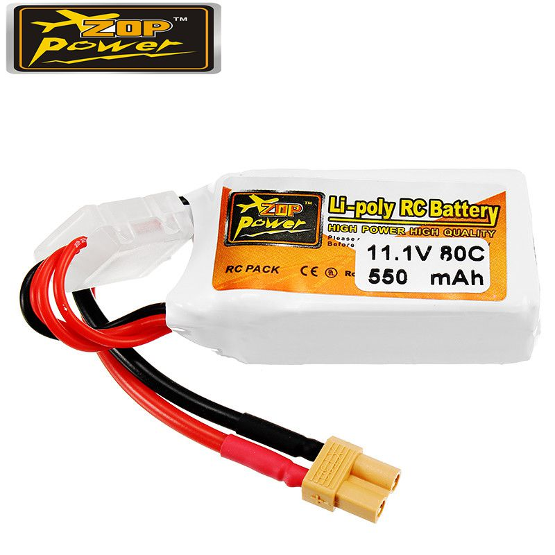 Rechargeable Lipo Battery ZOP Power 11.1V 550mAh 80C 3S Lipo Battery XT30 Plug zop power 11 1v 550mah 80c 3s lipo battery rechargeable xt30 plug connector for rc drones quadcopter helicopter toys spare parts