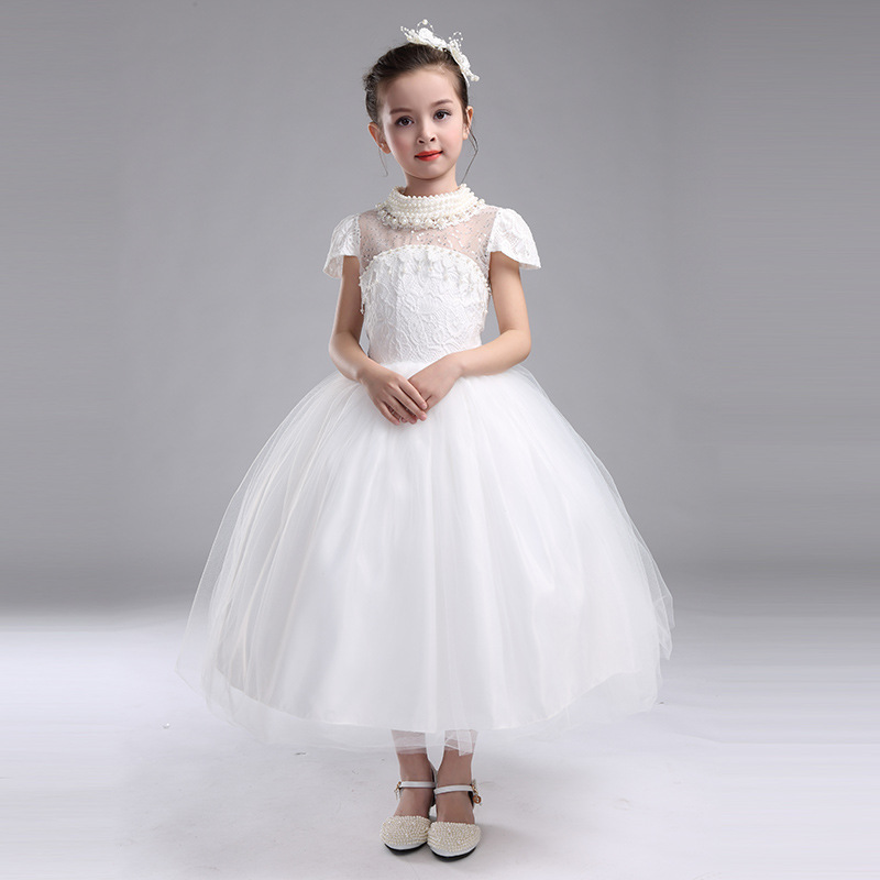 Long Girls Dress for Wedding White Pearl High-end Flower Girl Vestido 2018 Girls Clothes 3 4 6 8 10 12 14 Years Old RKF174039 summer 2018 girls party dress kids blue appliques girl vestido festa infantil 4 6 8 10 12 14 years old girls clothes rkf184028