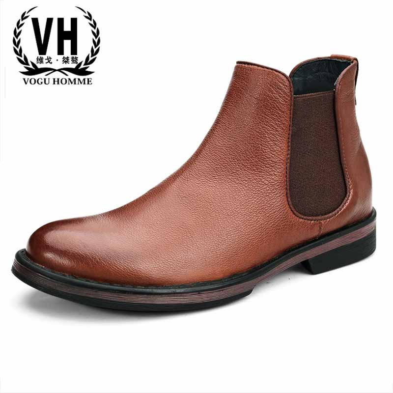 Chelsea boots men Genuine Leather British retro Martin boots youth short boots leisure men's Martin boots all-match cowhide