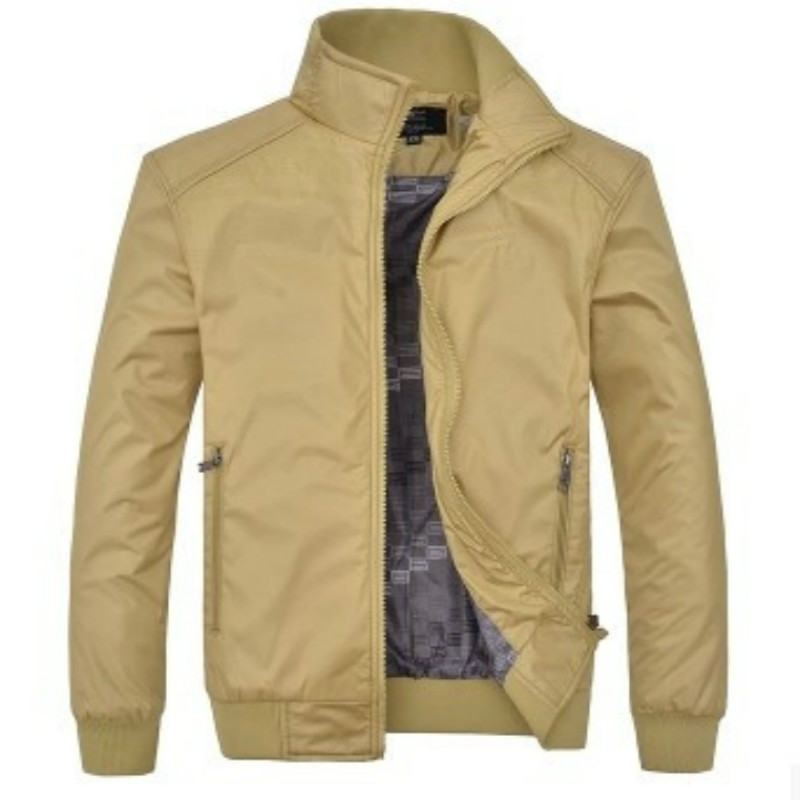 2016 New Winter Jacket Collar Male Fashion Casual Slim Solid Color Coat Quality Brown and Black Jacket Men