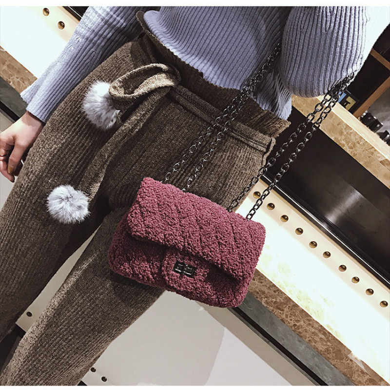 ... Winter New Brand Designer Fur Women Cross Body Bag Female Woolen Chain  Worm Messenger Bags Fashion ... 8a737fed0b55b