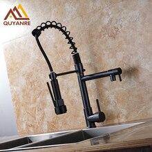 Традиционный почерневшие отделка кухней Весна смеситель двойной Swive Носик раковины ванной комнаты