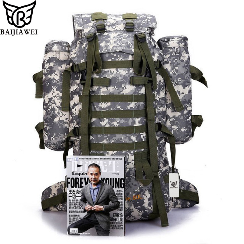 BAIJIAWEI UNIONLINE BAGS Store BAIJIAWEI 80L Big Capacity Backpack Trekking Rucksacks Men Backpacks Camouflage Multifunction Travel Backpack with Raincover