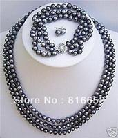 hot Free shipping@@3 rows black pearl necklace bracelet earrings set hot