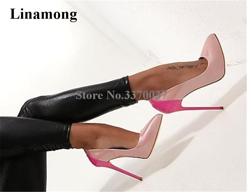 Women Sexy Fashion Pointed Toe Patchwork Colors Stiletto Heel Pumps Yellow Pink Slip on Super High