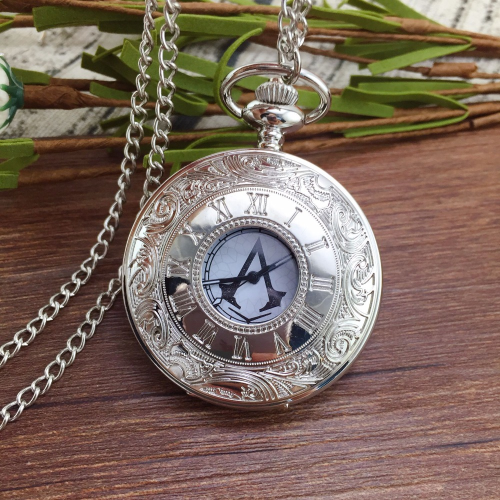 Full Hunter Quartz Engraved Fob Retro Pendant Pocket Watch Chain Gift Assassins Creed Necklace