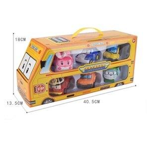 Image 2 - مجموعة من 6 قطعة بولي سيارة الاطفال لعبة روبوت تحويل سيارة الكرتون أنيمي ألعاب شخصيات الحركة للأطفال هدية juguداعي