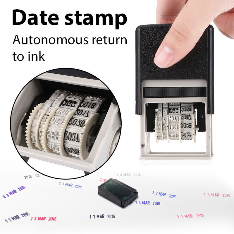 Date Stamps For Scrapbooking Rubber Dater Stamps Plastic Metal Words And Date Stamps DIY Wheel Stamp School Office Supplies