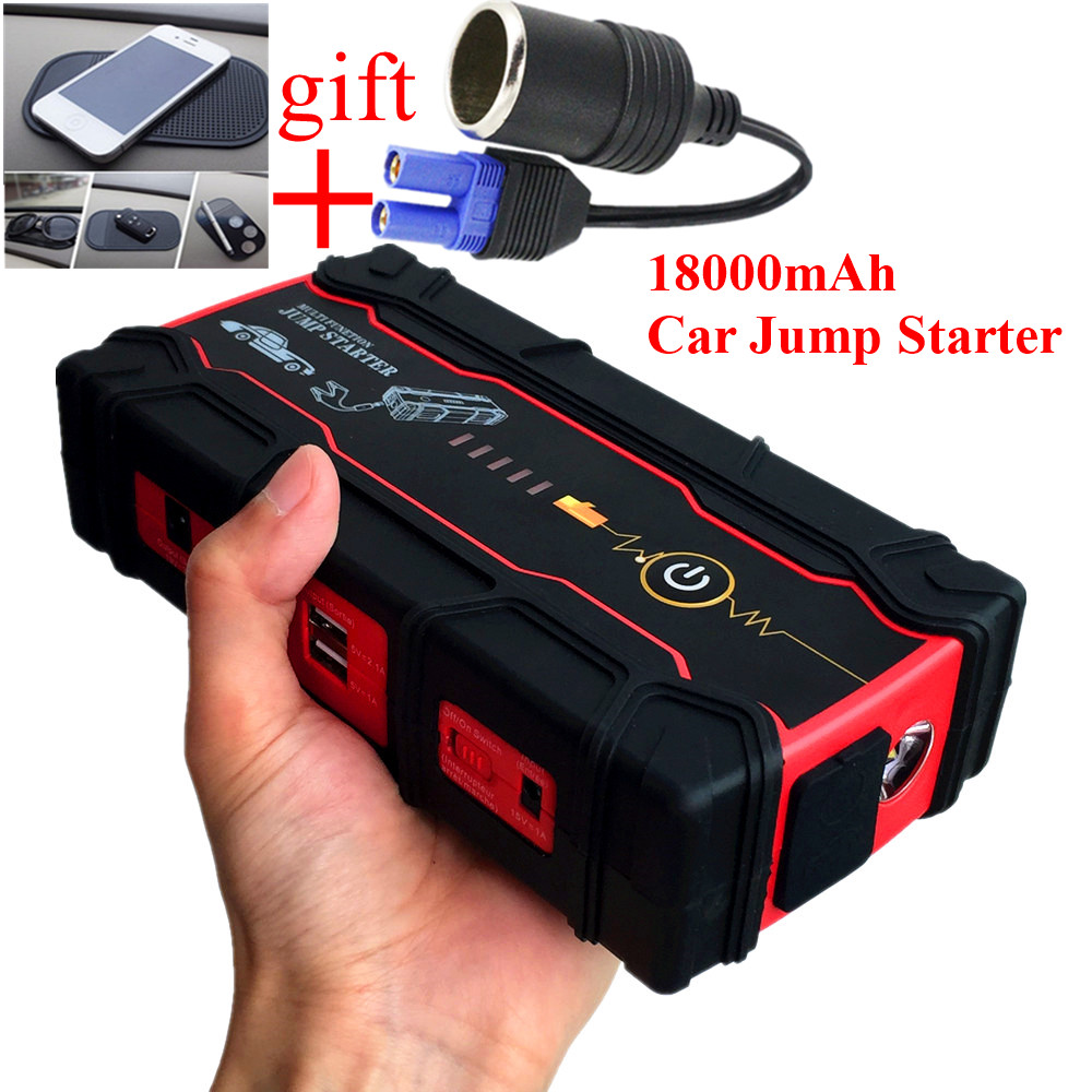 High Capacity 18000mAh Car Jump Starter Portable Starting Device Power Bank Biggest Car Charger For Car Battery Booster Buster  2017 high capacity 15000mah car jump starter portable 12v car battery booster charger mobile 2usb power bank sos light free ship