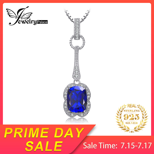 JewelryPalace Elegant Rectangle 2.9ct Created Sapphire Pendant 925 Sterling Silver Brand Jewelry For Women Without a Chain