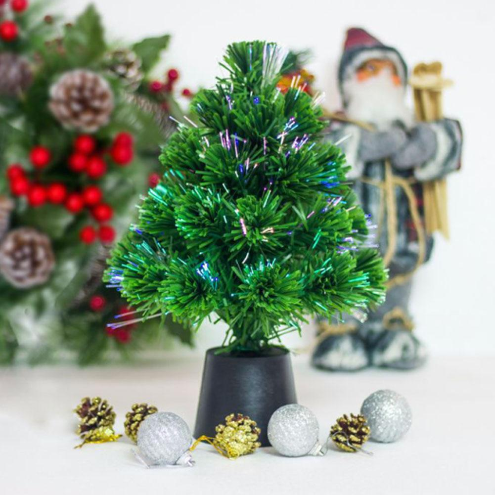 30cm mini usb fiber optic christmas tree led light christmas tree mini table miniature christmas decoration 2 color in trees from home garden on