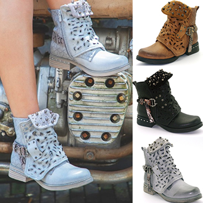 Women Autumn Winter Boots Zipper Rivet Buckle Lace-up Ankle Boots Cowboy Round Toe Women Shoes botines mujer 2018 FW209 women shoes scarpe donna elastic boots botines mujer sapato feminino round toe chaussure femme schoenen vrouw over knee boots