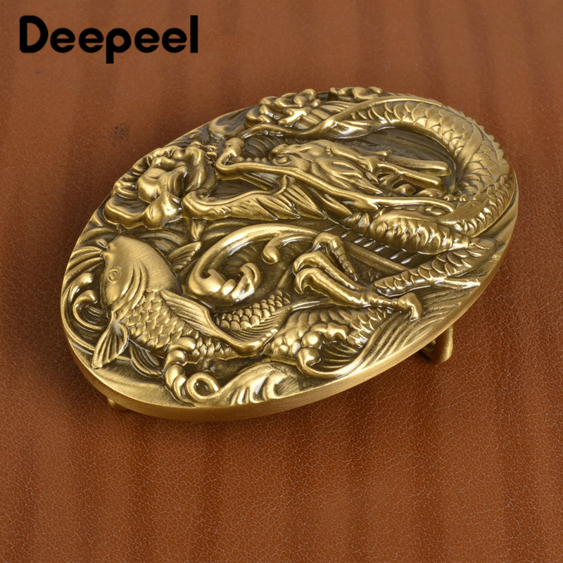 Deepeel 39mm Brass 3D Chinese Dragon Men Belt Buckle Smooth Belt Buckle Head DIY Casual  Jeans Hardware Craft Leather Material