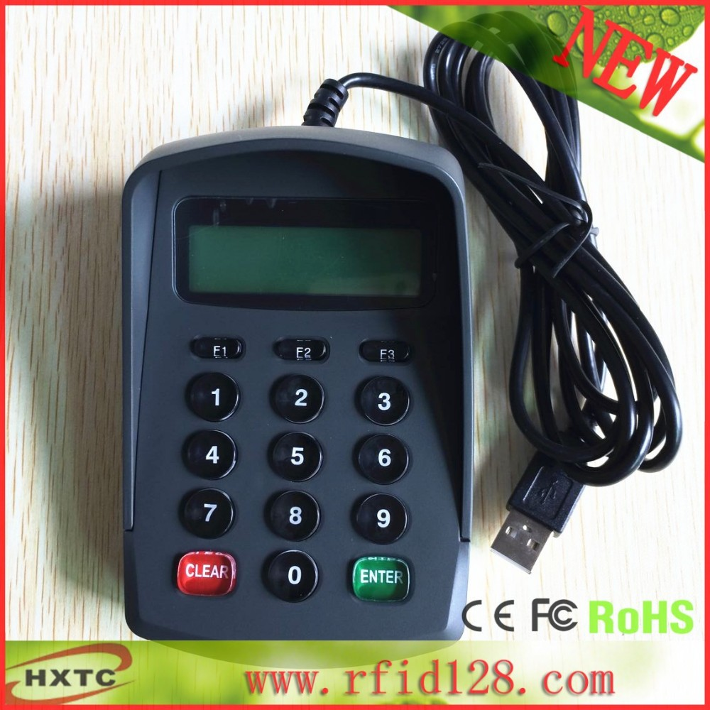 Contact IC card reader writer with LCD keyboard support secondary development contact card reader with pinpad numeric keypad for financial sector counters