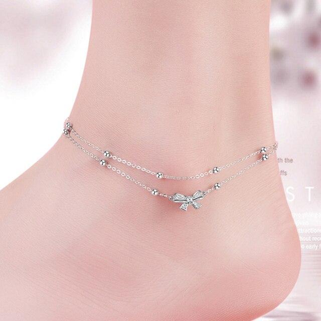 Trendy Silver 925 Ankle Bracelets Foot Bracelet Bowknot Fine Jewelry Sterling Anklets