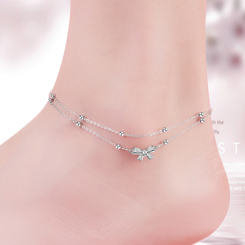 Trendy Silver 925 Ankle Bracelets Silver Foot Bracelet 925 Bowknot Fine Jewelry 925 Sterling Silver Anklets For Women Aniversity ...