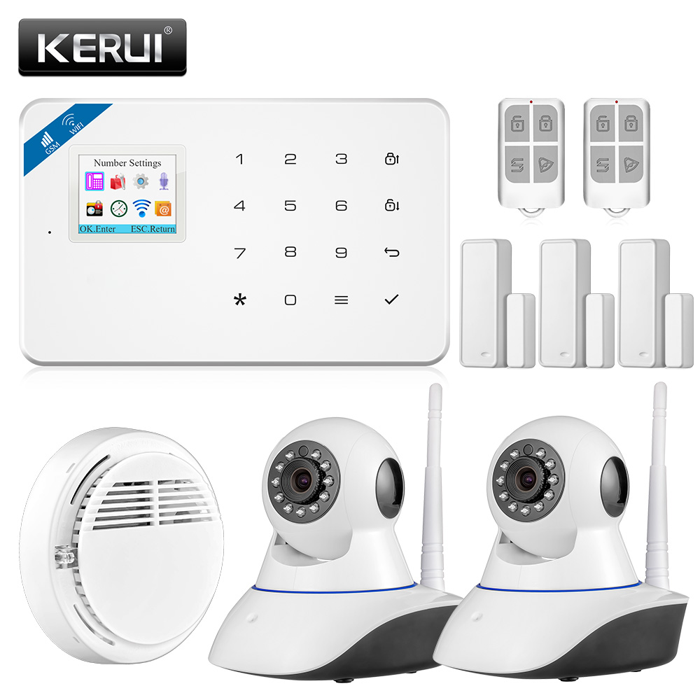 KERUI W18 Security Alarm System Wireless IOS/Android APP Control Wifi GSM Home Burglar Alarm Russian/English/Spanish/French smartyiba wireless gsm wifi home security burglar alarm system kit android ios app remote control french polish russian spanish
