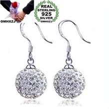 OMHXZJ wholesale Fashion jewelry Style restoring ancient ways ball crystal 925 Sterling silver Stud earrings YS20