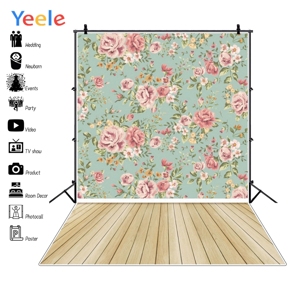 Yeele Wood Floor Photography Backdrops Newborns Photo Backgrounds Baby Flowers Pattern Backdrops for Photo Studio Booth Printed in Background from Consumer Electronics