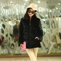 Venta caliente invierno de las señoras abrigo de visón abrigos de piel de visón natural de las mujeres rayas horizontales real abrigo de piel negro