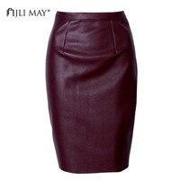 JLI MAY PU Leather pencil skirt Sexy Vintage winter slim tight Solid split Knee-Length midi women work skirt Champagne black