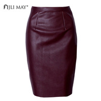 JLI MAY PU Leather Pencil Skirt Sexy Vintage Winter Slim Tight Solid Split Knee Length Midi