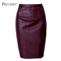 JLI MAY PU Leather Pencil Skirt Sexy Vintage Winter Slim Tight Solid Split Knee Length Midi