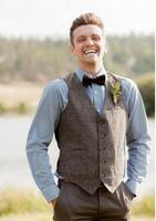 Vintage Gray Tweed Vest Wool Herringbone Groom Vests Five Buttons Men's Suit Vests Slim Fit Men's Dress Vest Wedding Waistcoat