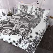 Juego de cama gótico calavera Retro mariposa Rosa cráneo edredón cubierta 3 piezas negro y blanco esqueleto cubrecama Vintage ropa de cama edredón