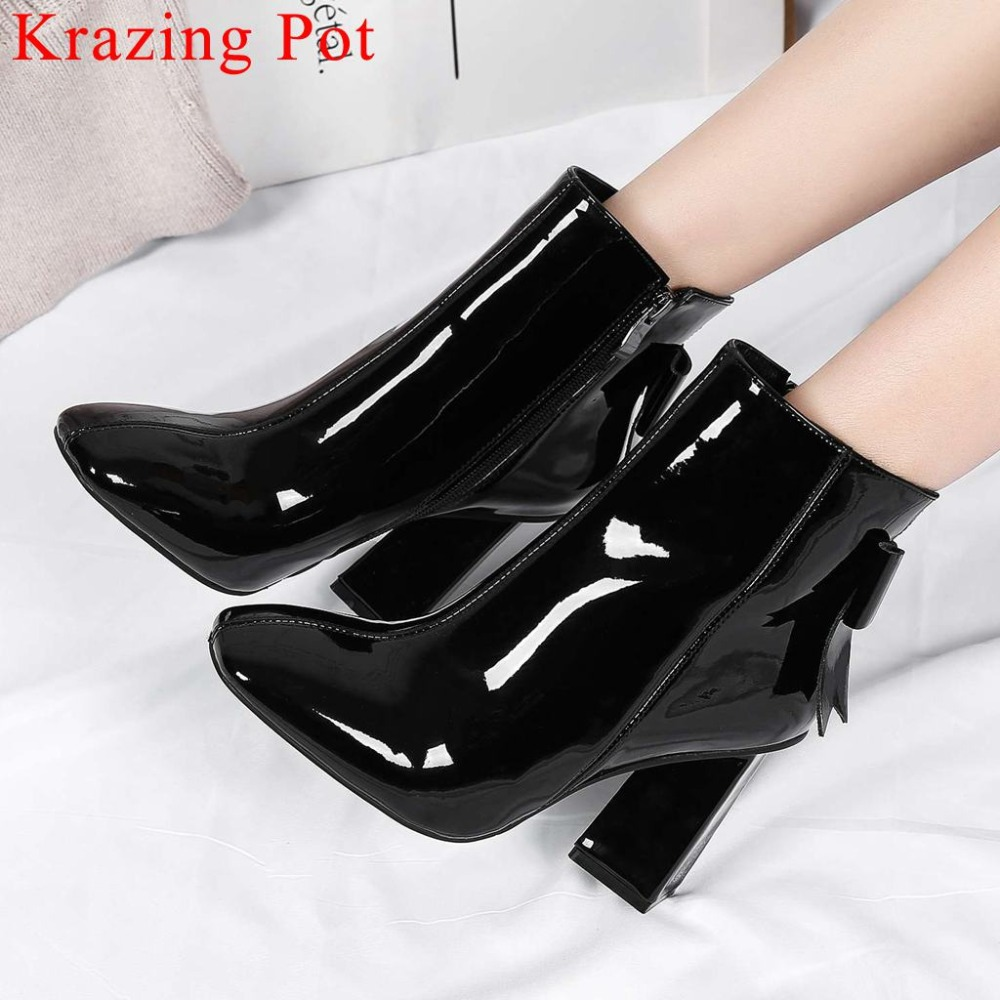 European movie stars super high strange heels cow patent leather square toe butterfly knot zipper plus