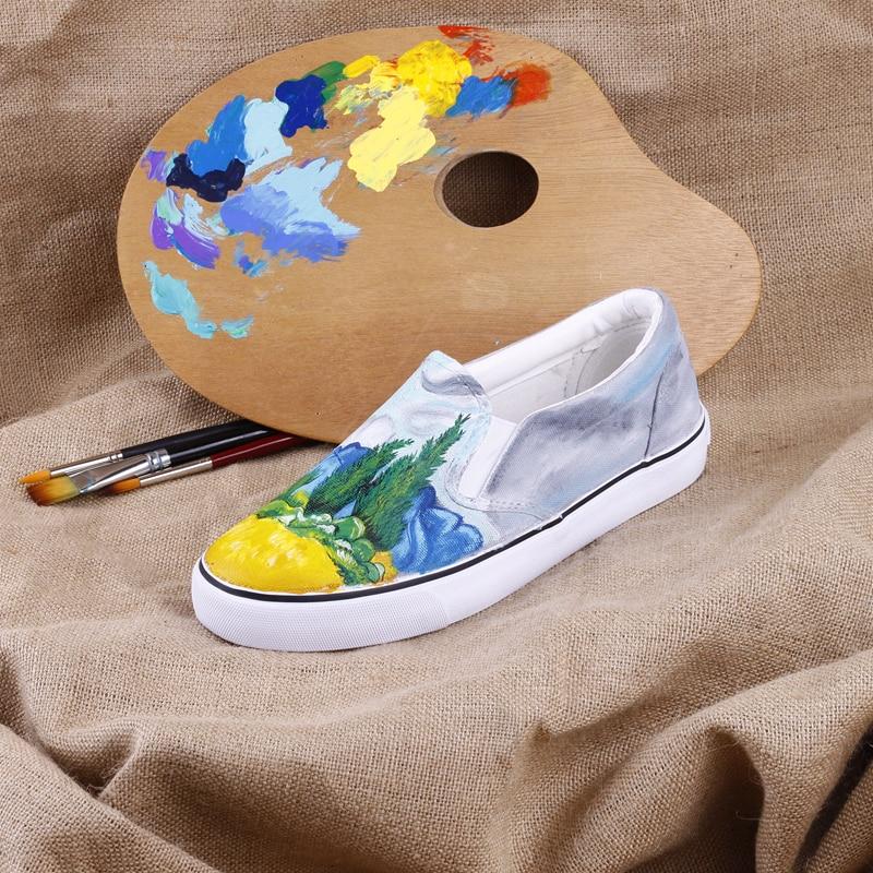 Lacets En Paresseux w201c lov À De Toile L'huile Main La Vrouw Schoenen Marche Peinture 00000 Sans Champ E Abstraite Casual Chaussures Mocassins Peint Blé FSqwUA