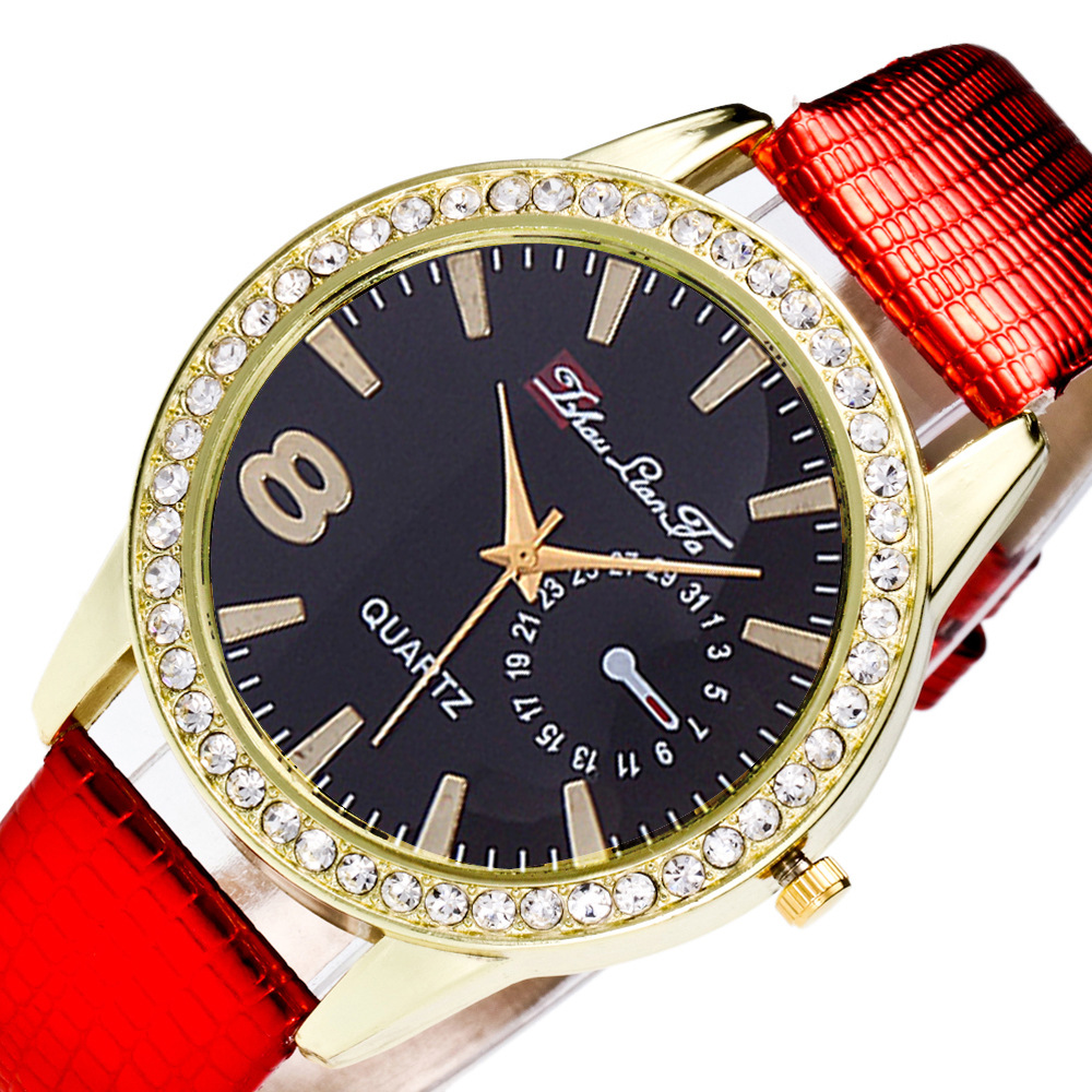 Fashion Black Noodles 8 Digital Scales Diamonds Gold Alloy Dial Red Leather 20mm Strap Men Couples Luxury Quartz Watch Seet C103 daybird 3971 colorful scales men quartz watch leather strap