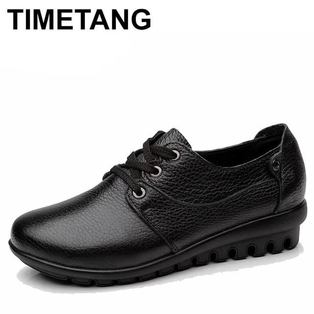 TIMETANG 2018 mujeres zapatos hechos a mano de cuero genuino cordón plana madre zapatos mujer holgazanes únicos zapatos planos ocasionales