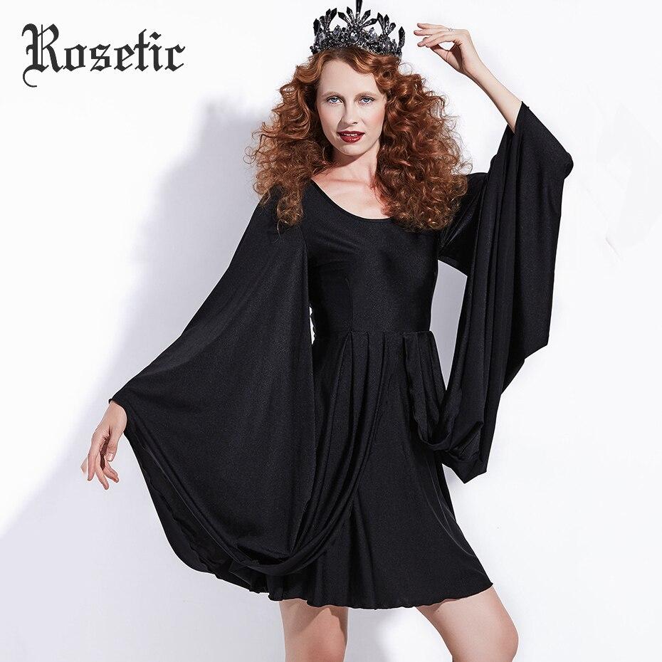 Rosetic Gothic Casual Dress Halloween Black Women Batwing Sleeve Autumn Vintage Dress A Line Retro Street