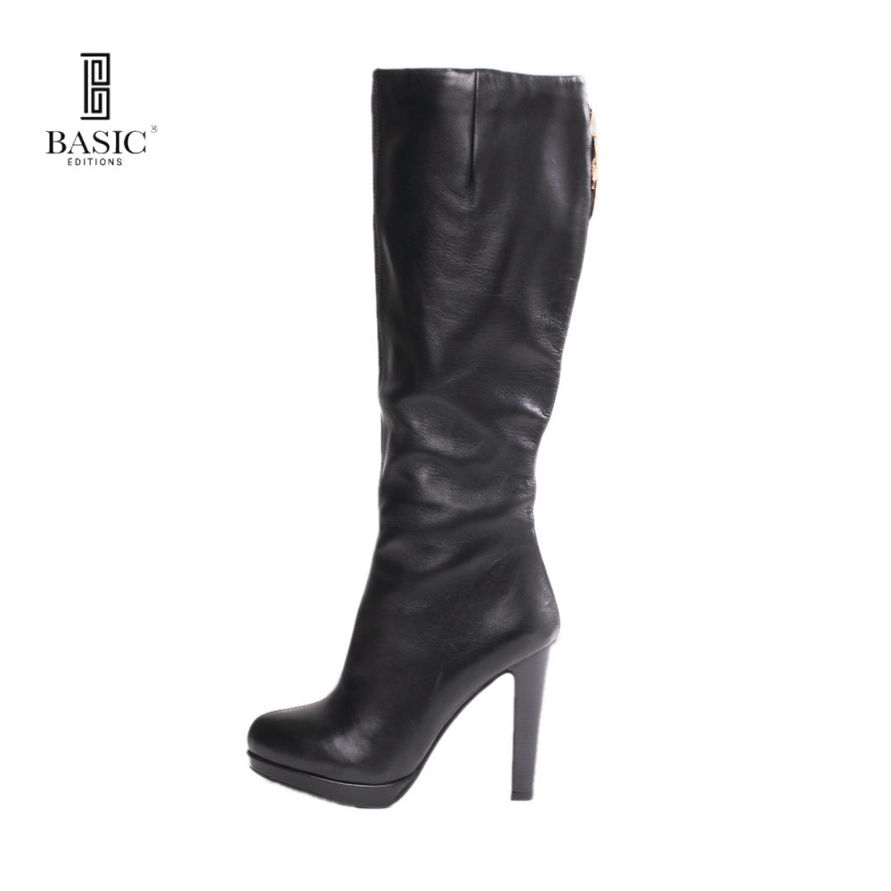 BASIC EDITIONS 2016 Fashion Leather High Heels Women Stretch Mid Calf Autumn Winter Long Boots Shoes