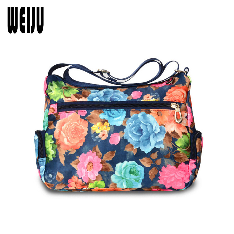 WEIJU Floral Printing Women Messenger Bags New Fashion Shoulder Bags Waterproof Nylon Woman Cross Body Bag Bolsos Mujer ecosusi new fashion women messenger bags casual women leather handbags vintage women shoulder cross body bags bolsos bag
