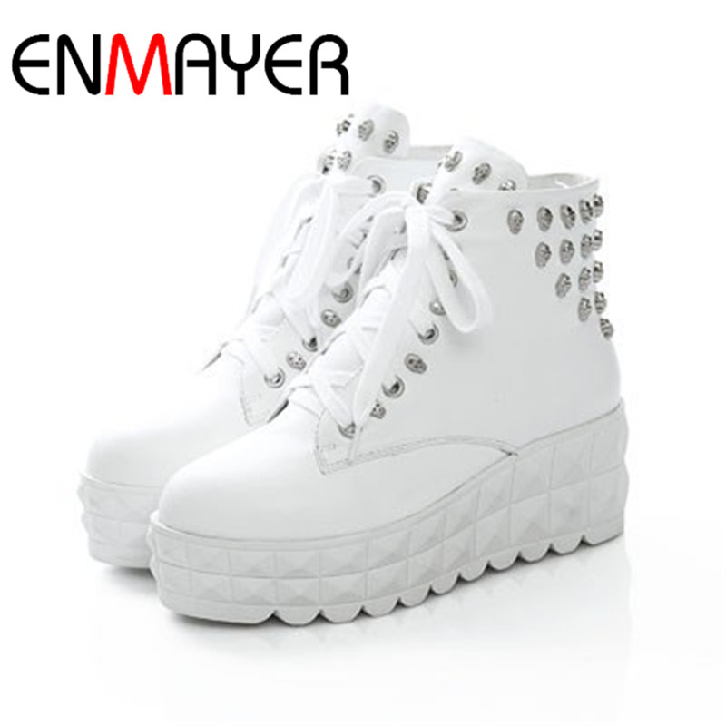 ФОТО ENMAYER New  Round Toe Skull Leather High Women Boots Winter Shoes Platform Martin Wedges Boots for Women Big Size 34-43
