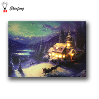 color change fiber optic lights winter church horse led canvas wall picture light up oil painting artwork christmas decorative