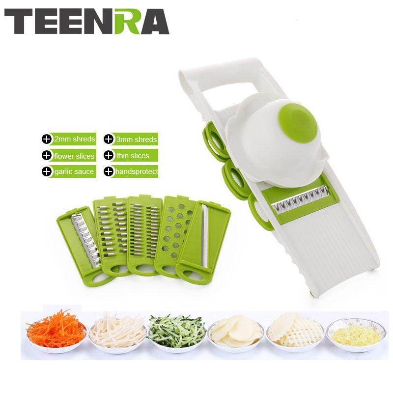 TEENRA 7ks Multi Mandoline Zeleninový kráječ 5-čepel Zeleninový krájač brambor Mrkvový česnek Kráječ krájení Sheredder Kuchyňské nářadí