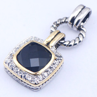 New Black Onyx Woman 925 Sterling Silver Crystal pendant TE362