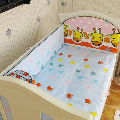 Promotion! 5PCS baby crib bedding set cartoon baby bedding set newborn baby bed set,include:(bumpers+sheet)