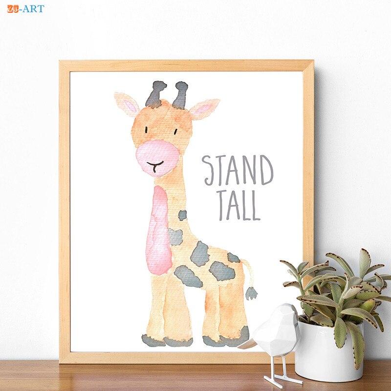Affiche avec horloge zéro animaux, peinture sur toile, citation d'animaux Safari, feuilles imprimées, cadeau de réception pour bébé, décor mural artistique pour pépinière 3
