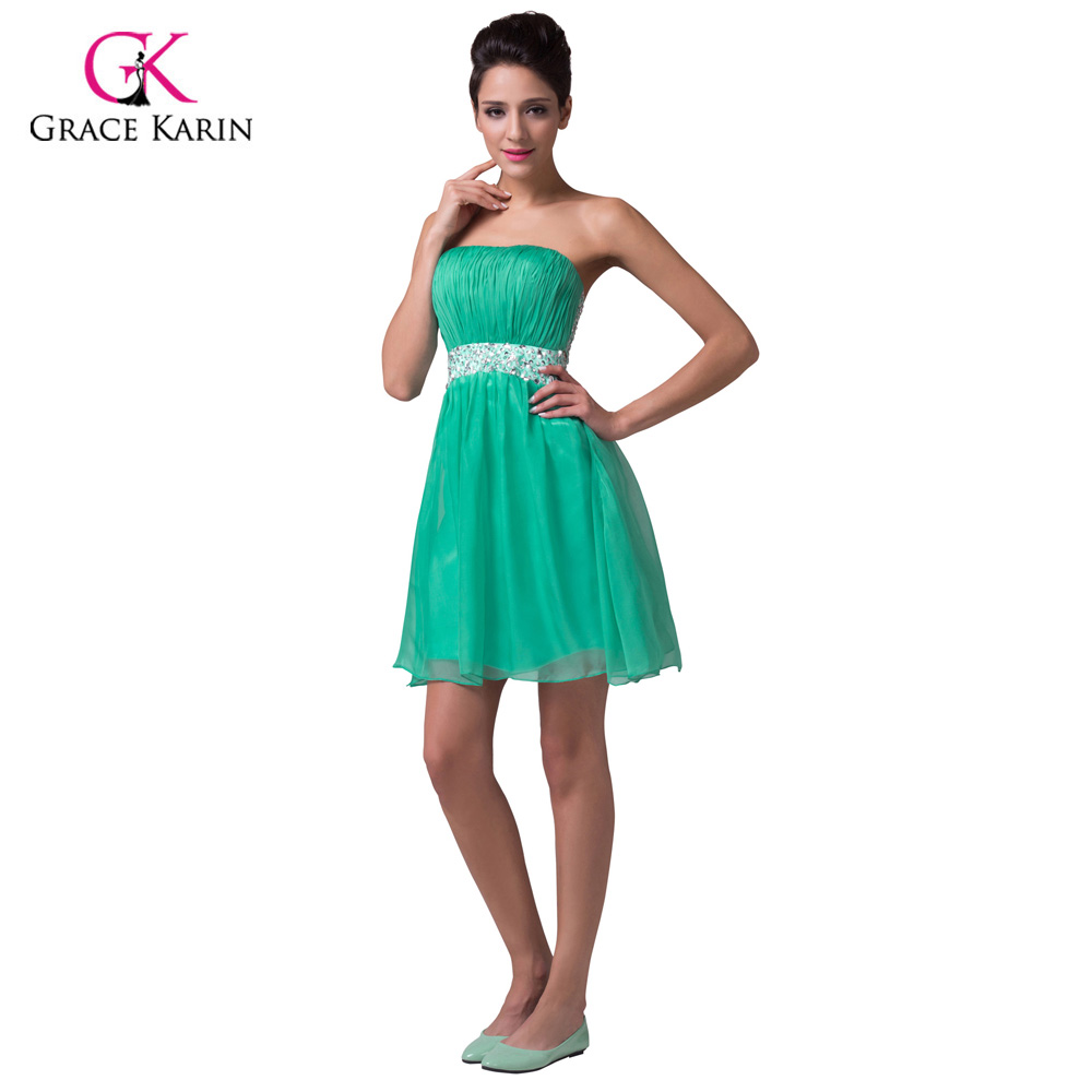Grace Karin Princess Chiffon cheap Short Green Bridesmaid Dresses ...