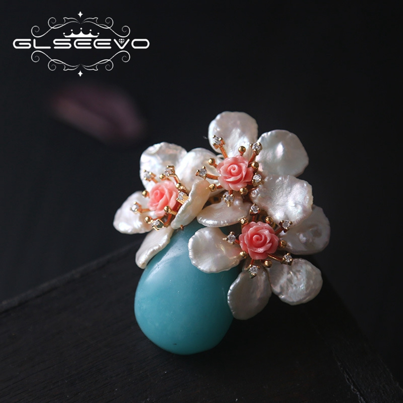 все цены на GLSEEVO Natural Fresh Water Baroque Pearl Flower Brooch Pins Amazonite Coral Flower Brooches For Women Dual Use Jewelry GO0203 онлайн