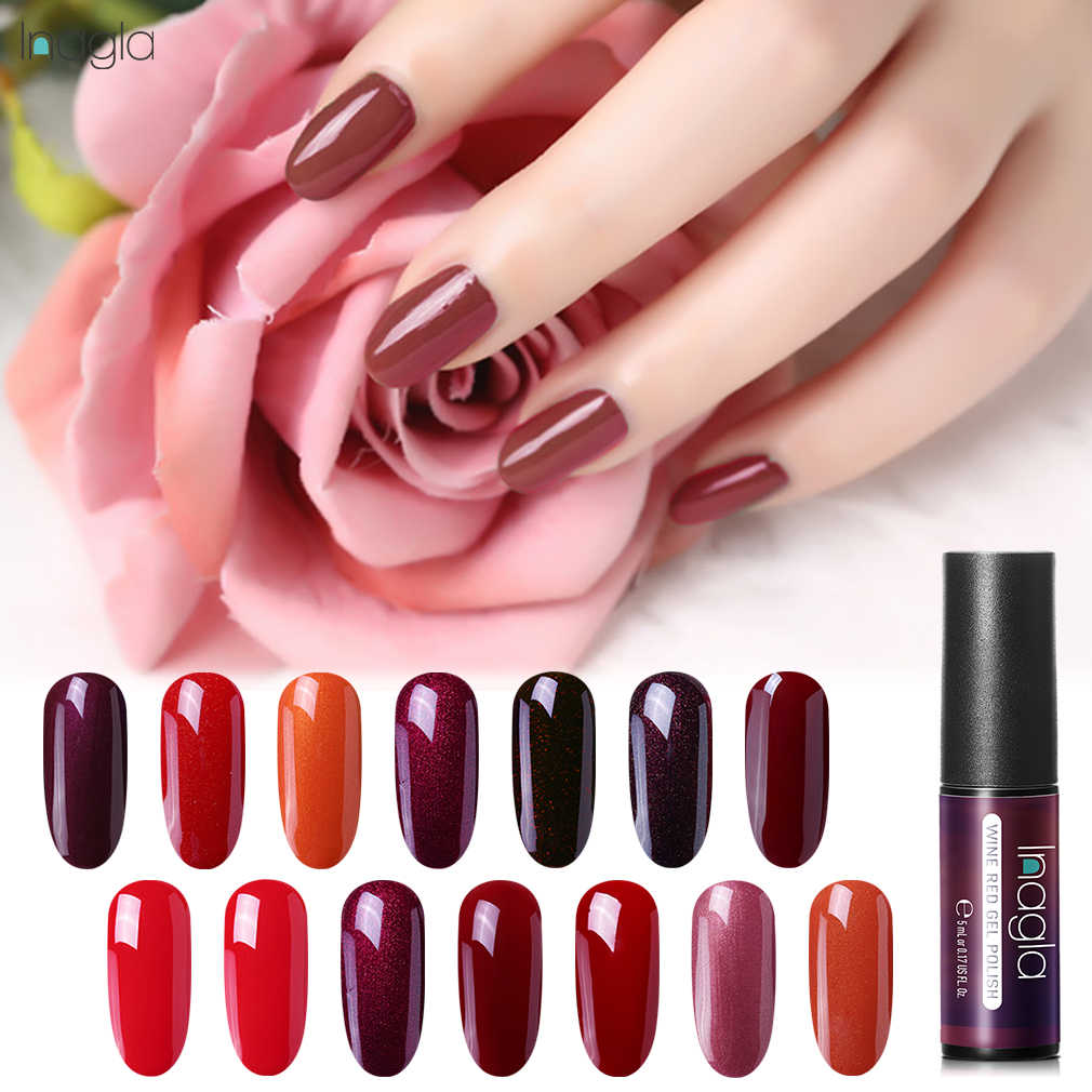 Inagla 5ml Wine Red & Nude Series Gel Nail Polish Soak Off LED UV Gel Stamping Polish Nail Art Gel Varnishes For Manicure