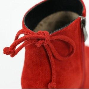 Image 4 - ESVEVA 2020 נשים מגפי פלוק קרסול מגפי בוהן עגול חורף נעלי כיכר עקבים גבירותיי מערבי מסיבת זמש סתיו מגפי גודל 34 43