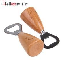 BalleenShiny Smiley Face Beer Bottle Opener Stainless Steel Beer Bar Tool Kitchen Gadgets Cap Opener Wooden Handle Cute Gift